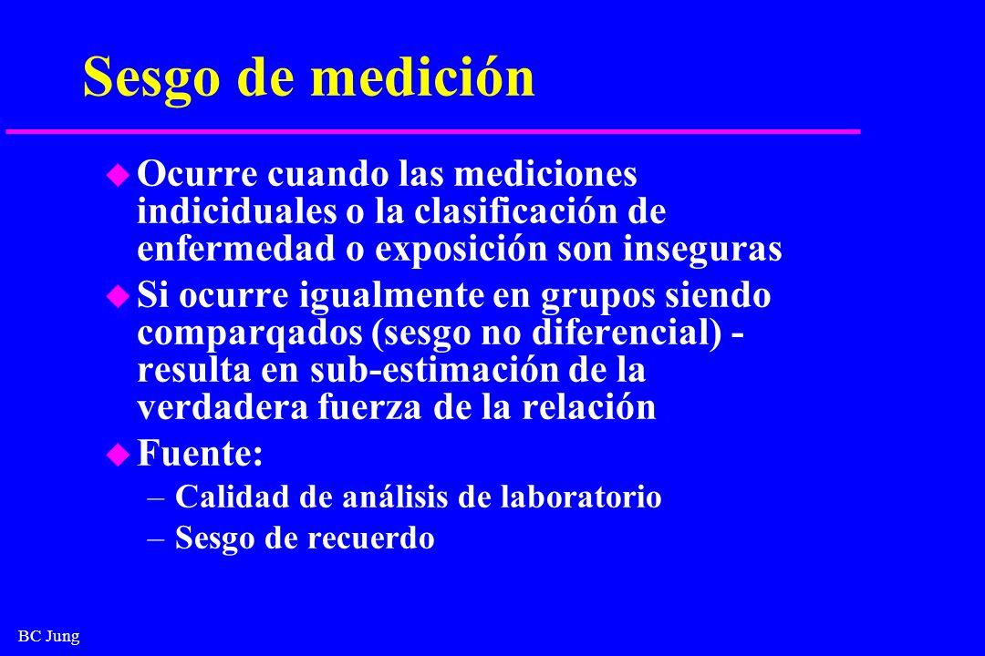 Sesgo de medición Ocurre cuando las mediciones indiciduales o la clasificación de enfermedad o exposición son inseguras.