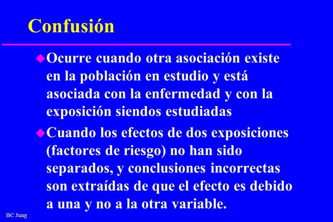 Confusión Ocurre cuando otra asociación existe en la población en estudio y está asociada con la enfermedad y con la exposición siendos estudiadas.