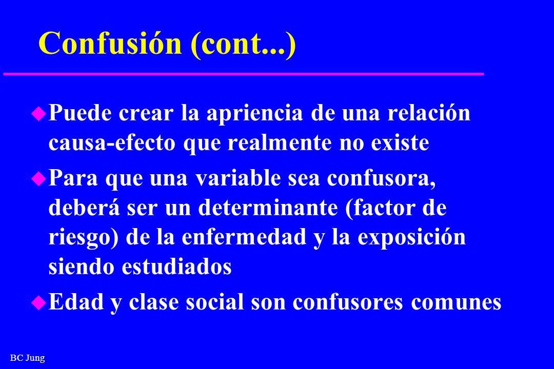 Confusión (cont...) Puede crear la apriencia de una relación causa-efecto que realmente no existe.