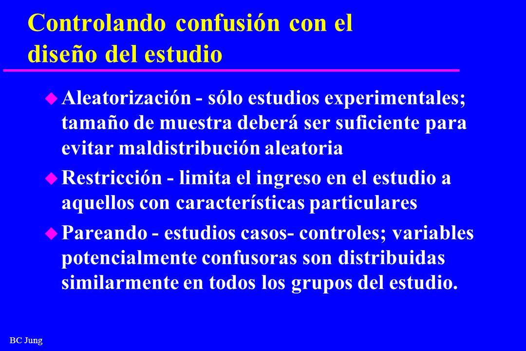 Controlando confusión con el diseño del estudio