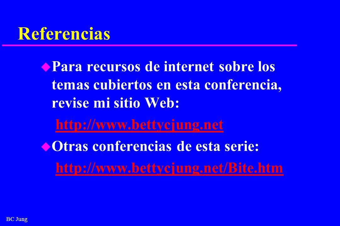 Referencias Para recursos de internet sobre los temas cubiertos en esta conferencia, revise mi sitio Web: