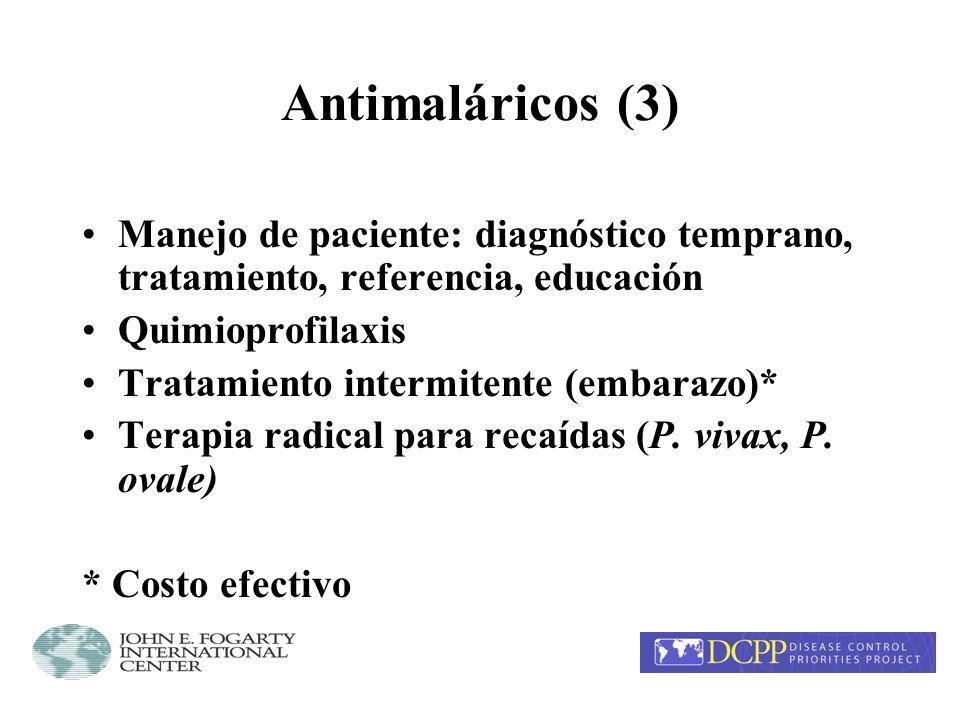 Antimaláricos (3) Manejo de paciente: diagnóstico temprano, tratamiento, referencia, educación. Quimioprofilaxis.