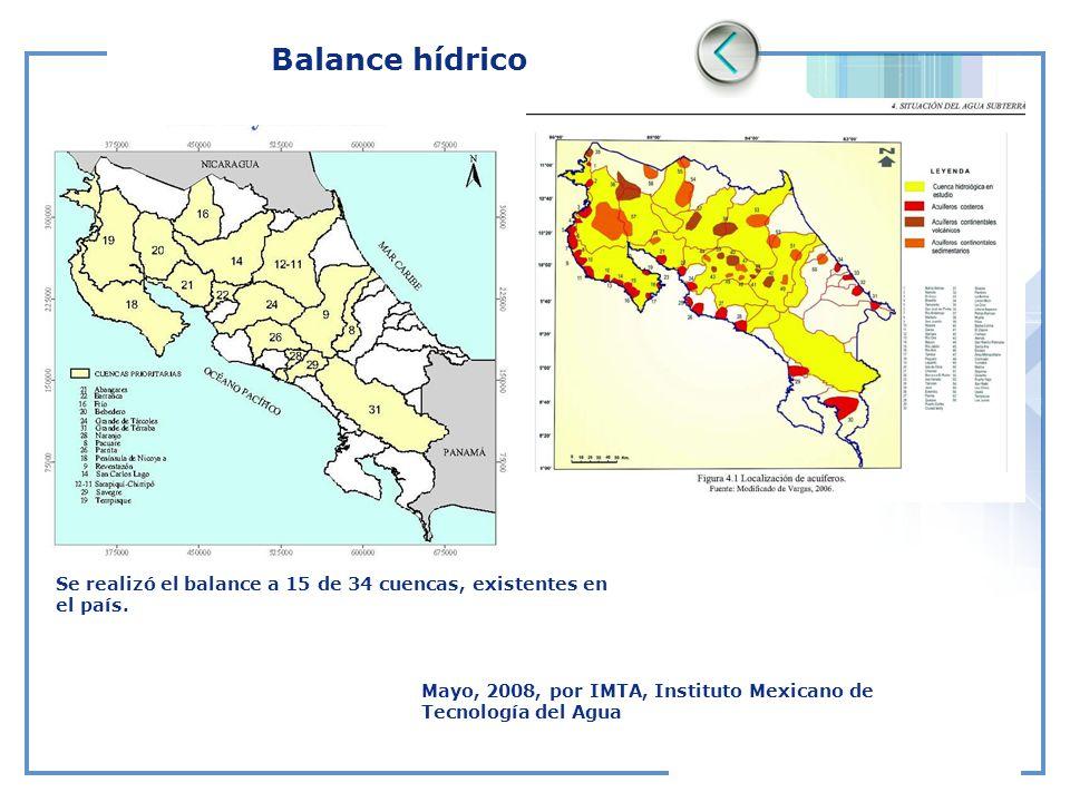 Balance hídrico Se realizó el balance a 15 de 34 cuencas, existentes en el país.