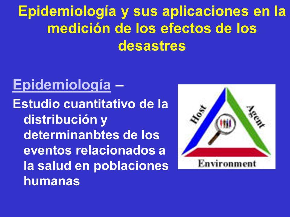 Epidemiología y sus aplicaciones en la medición de los efectos de los desastres