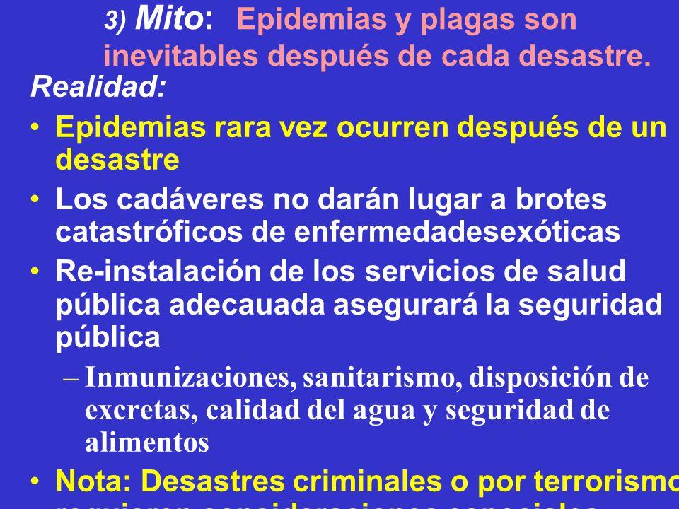 3) Mito: Epidemias y plagas son inevitables después de cada desastre.