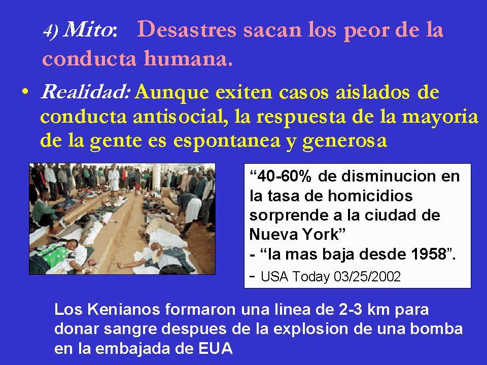 4) Mito: Desastres sacan los peor de la conducta humana.