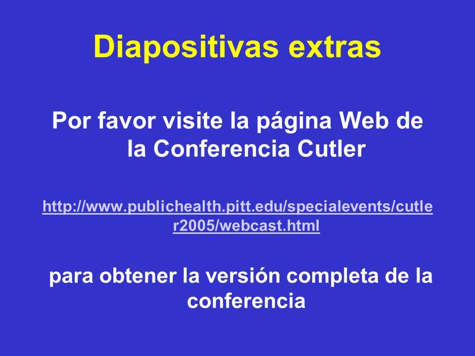 Diapositivas extras Por favor visite la página Web de la Conferencia Cutler. http://www.publichealth.pitt.edu/specialevents/cutler2005/webcast.html.