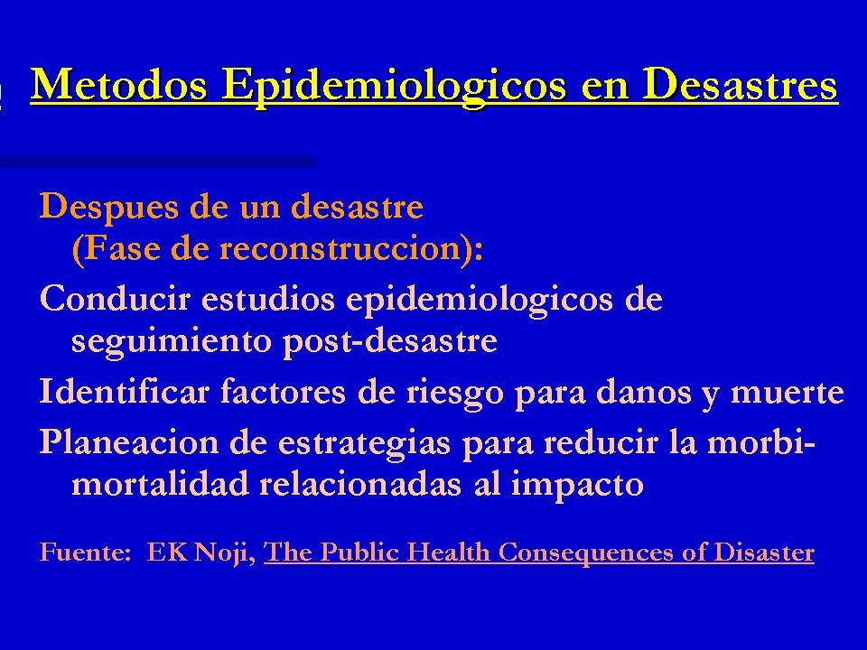 Métodos Epidemiológicos en Desastres