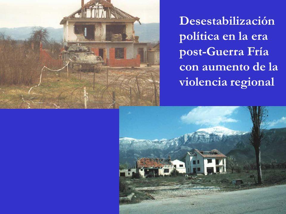 Desestabilización política en la era post-Guerra Fría con aumento de la violencia regional