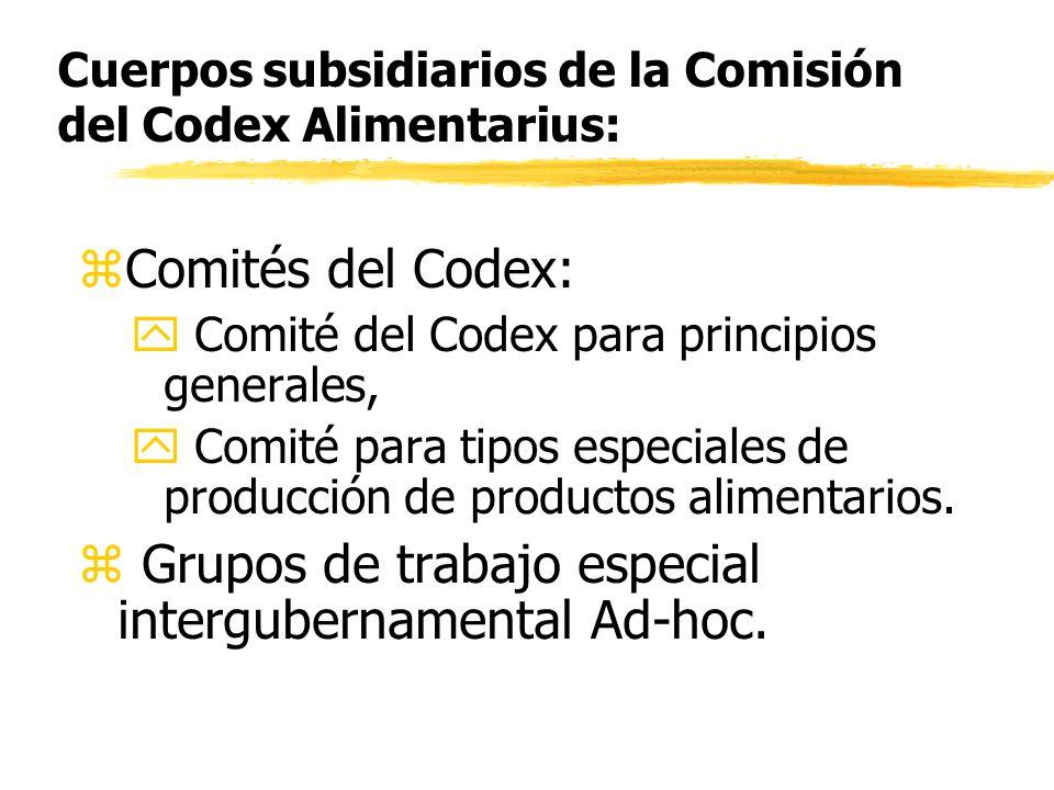 Cuerpos subsidiarios de la Comisión del Codex Alimentarius:
