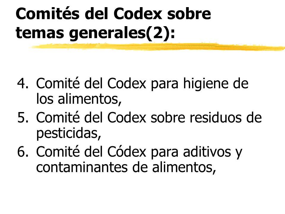 Comités del Codex sobre temas generales(2):