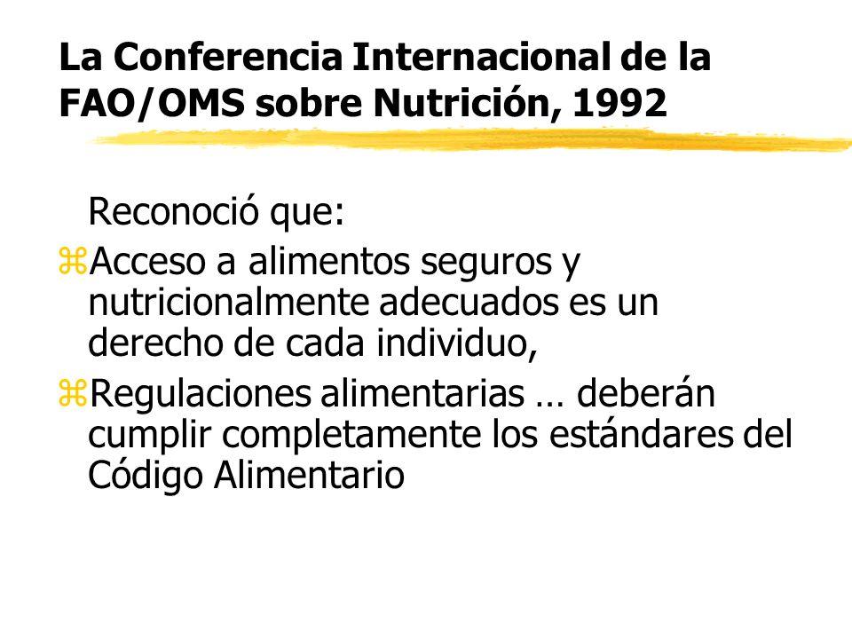 La Conferencia Internacional de la FAO/OMS sobre Nutrición, 1992