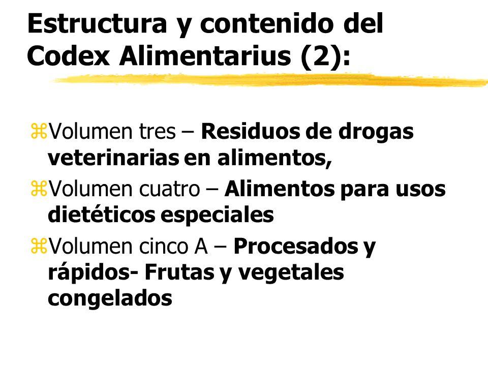 Estructura y contenido del Codex Alimentarius (2):