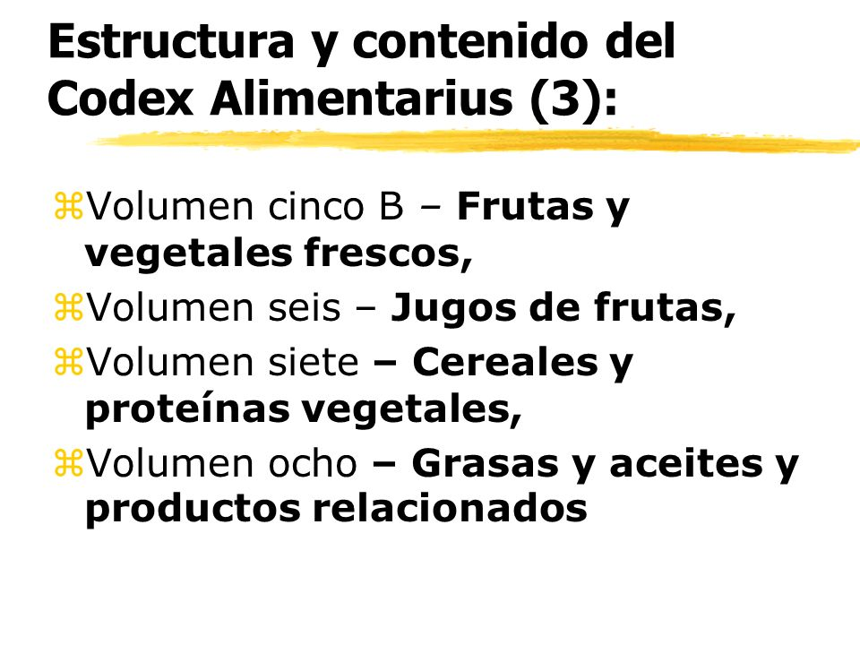 Estructura y contenido del Codex Alimentarius (3):