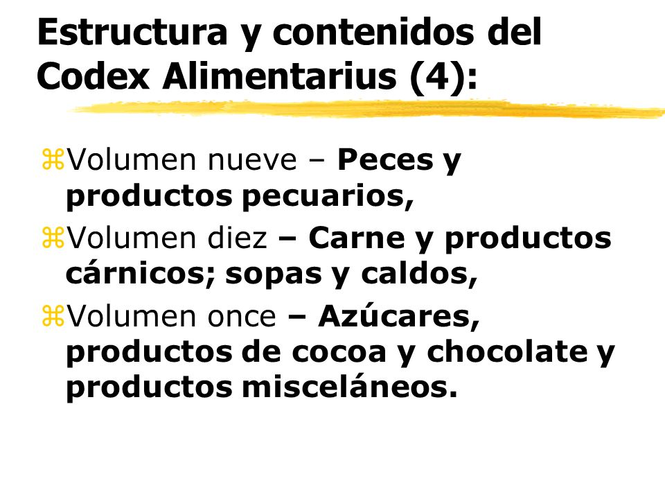 Estructura y contenidos del Codex Alimentarius (4):