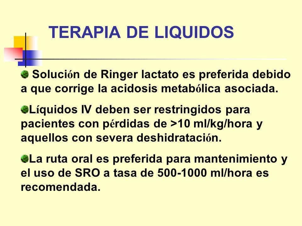 TERAPIA DE LIQUIDOS Solución de Ringer lactato es preferida debido a que corrige la acidosis metabólica asociada.