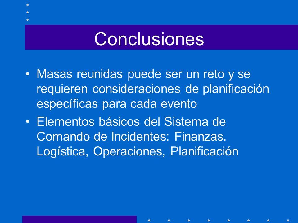 Conclusiones Masas reunidas puede ser un reto y se requieren consideraciones de planificación específicas para cada evento.