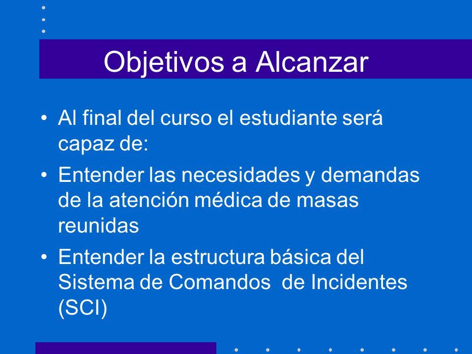 Objetivos a Alcanzar Al final del curso el estudiante será capaz de: