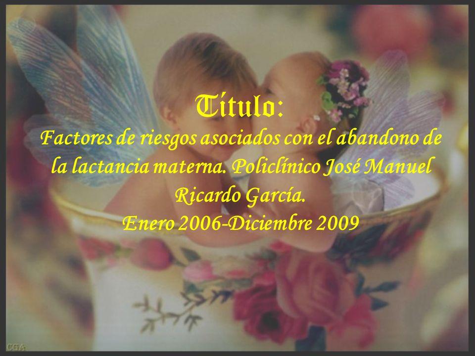 Título: Factores de riesgos asociados con el abandono de la lactancia materna. Policlínico José Manuel Ricardo García.