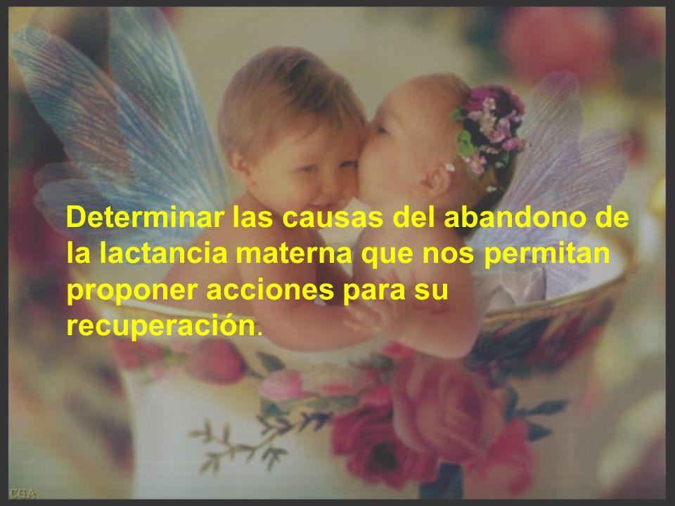Determinar las causas del abandono de la lactancia materna que nos permitan proponer acciones para su recuperación.