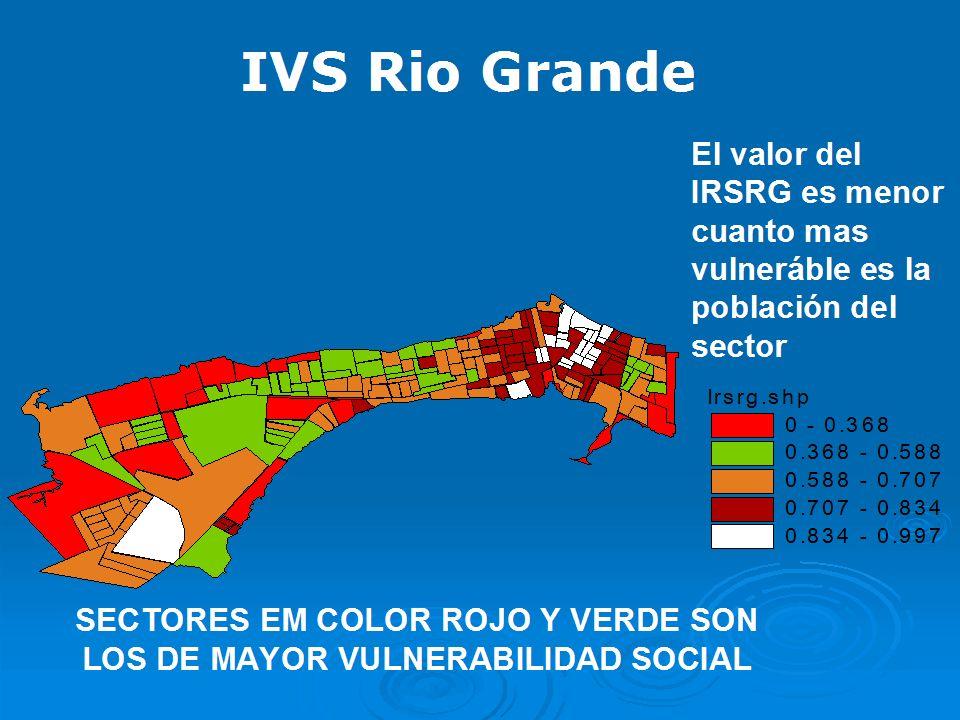 SECTORES EM COLOR ROJO Y VERDE SON LOS DE MAYOR VULNERABILIDAD SOCIAL