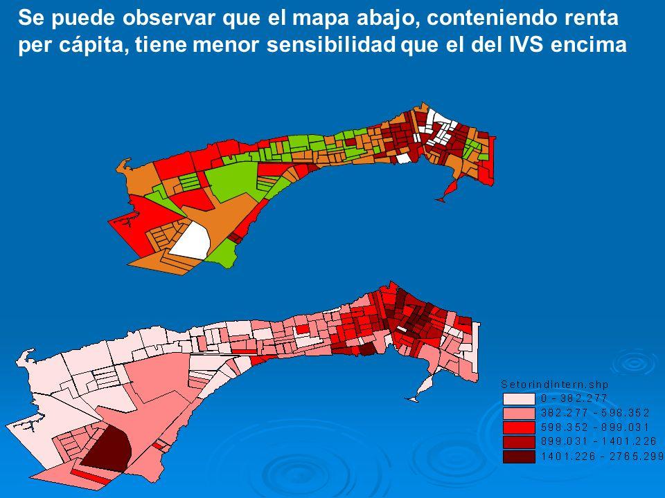 Se puede observar que el mapa abajo, conteniendo renta per cápita, tiene menor sensibilidad que el del IVS encima
