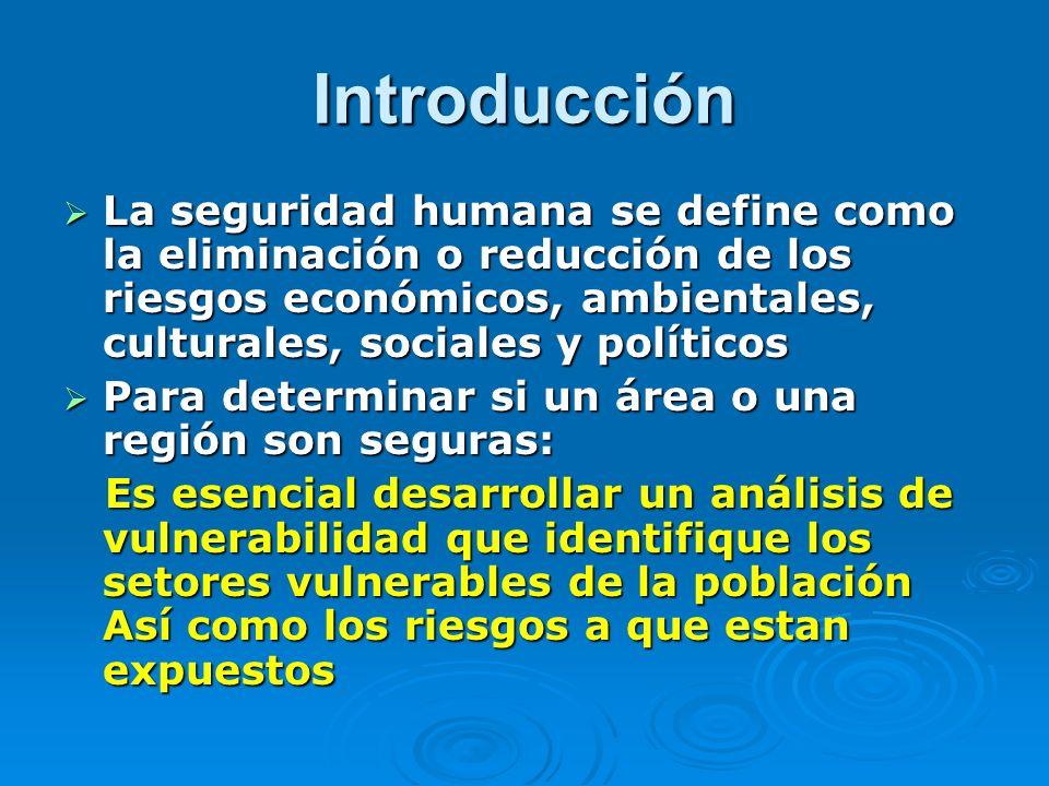 Introducción La seguridad humana se define como la eliminación o reducción de los riesgos económicos, ambientales, culturales, sociales y políticos.
