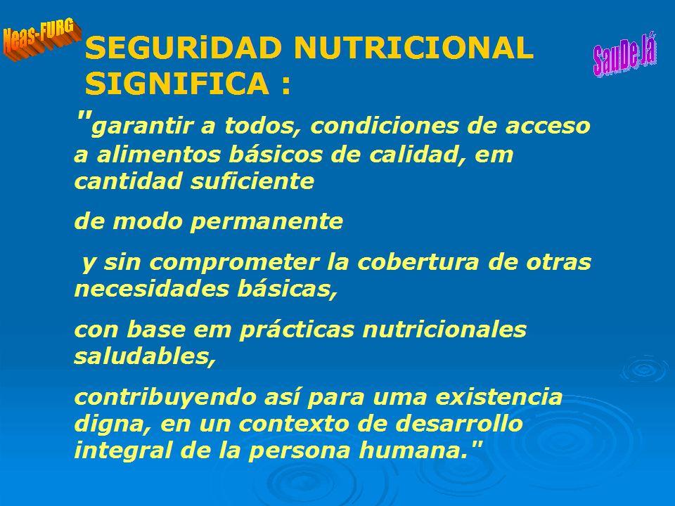 SEGURiDAD NUTRICIONAL SIGNIFICA :