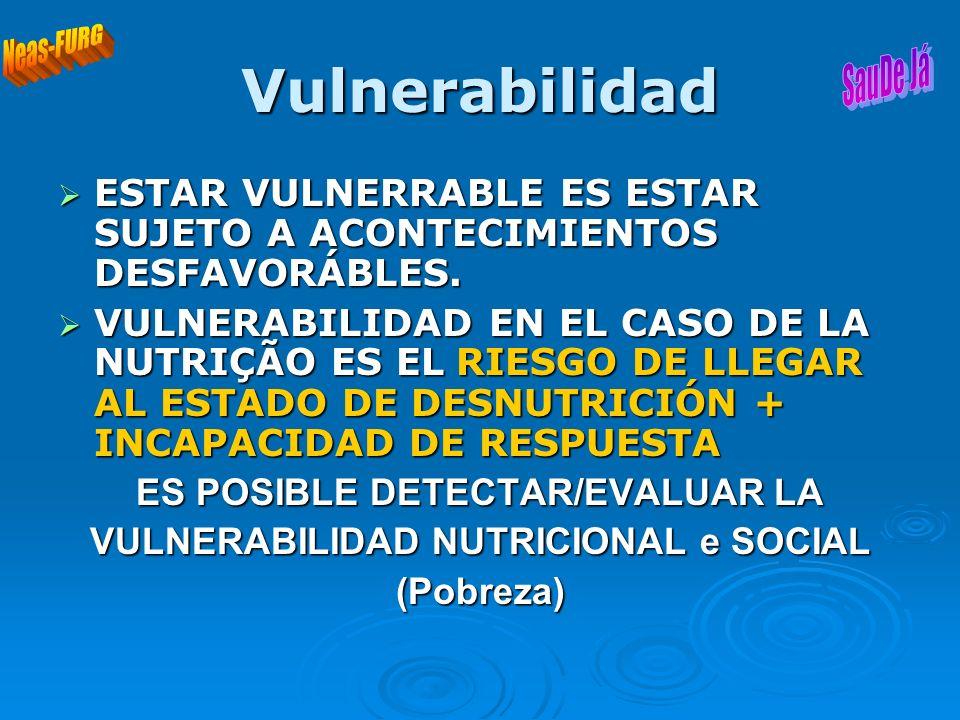 ES POSIBLE DETECTAR/EVALUAR LA VULNERABILIDAD NUTRICIONAL e SOCIAL