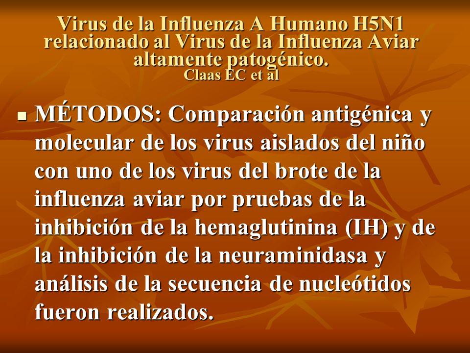 Virus de la Influenza A Humano H5N1 relacionado al Virus de la Influenza Aviar altamente patogénico. Claas EC et al