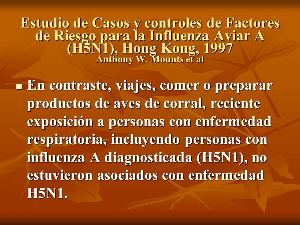 Estudio de Casos y controles de Factores de Riesgo para la Influenza Aviar A (H5N1), Hong Kong, 1997 Anthony W. Mounts et al