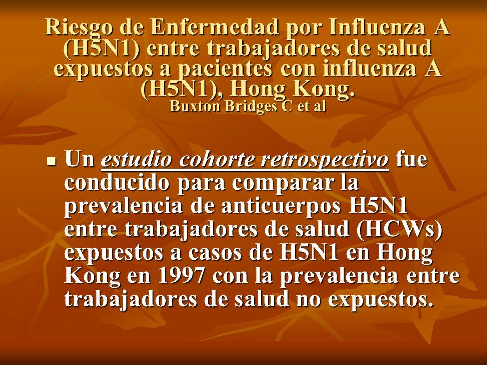 Riesgo de Enfermedad por Influenza A (H5N1) entre trabajadores de salud expuestos a pacientes con influenza A (H5N1), Hong Kong. Buxton Bridges C et al