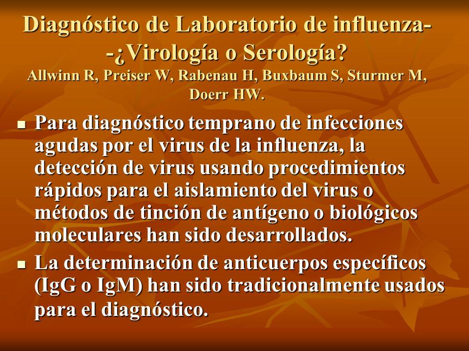 Diagnóstico de Laboratorio de influenza--¿Virología o Serología