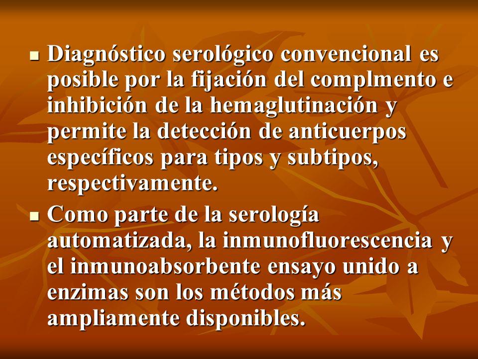 Diagnóstico serológico convencional es posible por la fijación del complmento e inhibición de la hemaglutinación y permite la detección de anticuerpos específicos para tipos y subtipos, respectivamente.