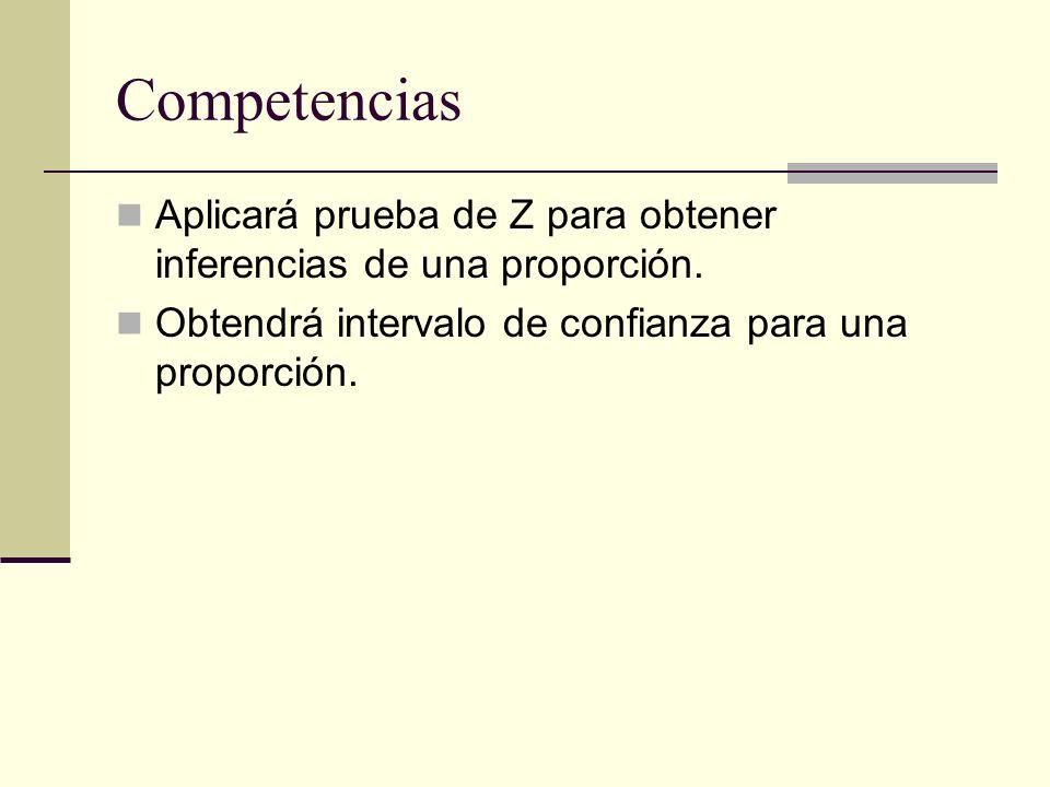 Competencias Aplicará prueba de Z para obtener inferencias de una proporción.