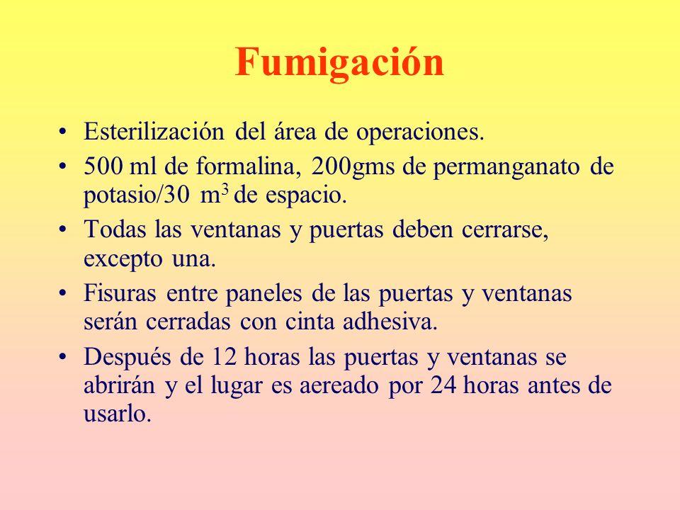 Fumigación Esterilización del área de operaciones.