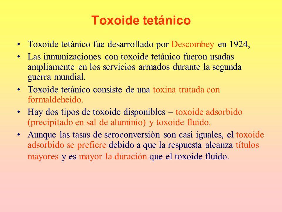 Toxoide tetánico Toxoide tetánico fue desarrollado por Descombey en 1924,