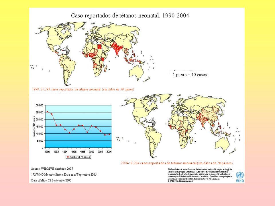 Caso reportados de tétanos neonatal, 1990-2004