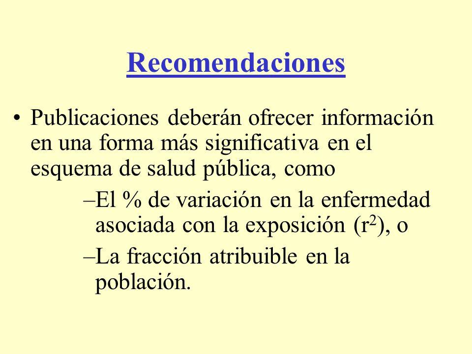 Recomendaciones Publicaciones deberán ofrecer información en una forma más significativa en el esquema de salud pública, como.