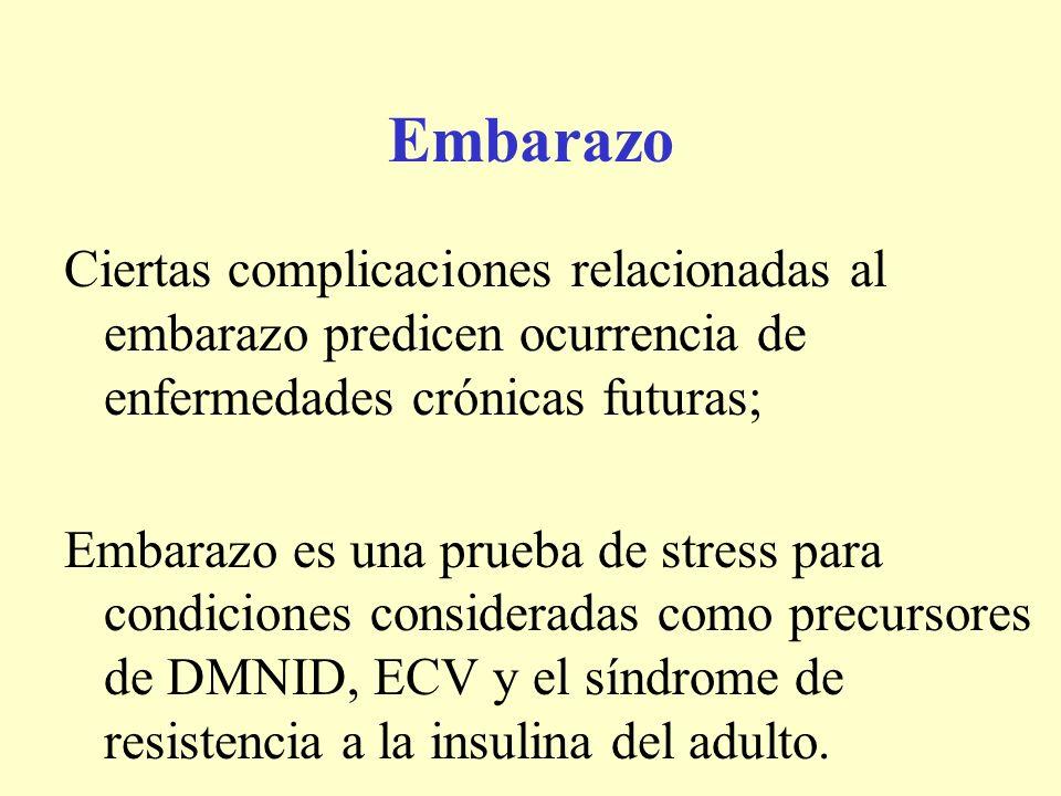 Embarazo Ciertas complicaciones relacionadas al embarazo predicen ocurrencia de enfermedades crónicas futuras;