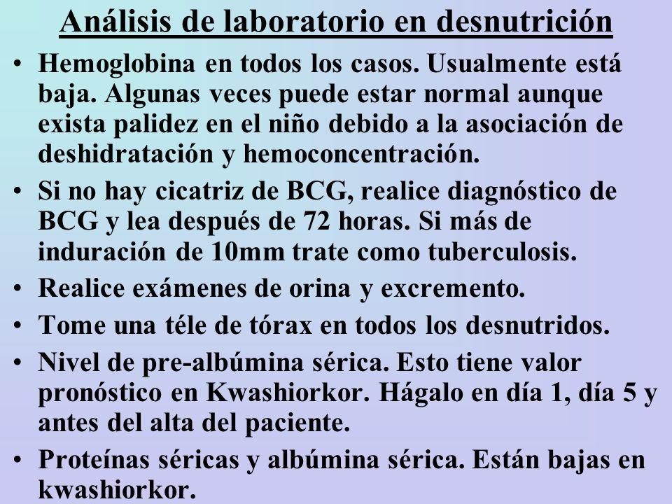 Análisis de laboratorio en desnutrición