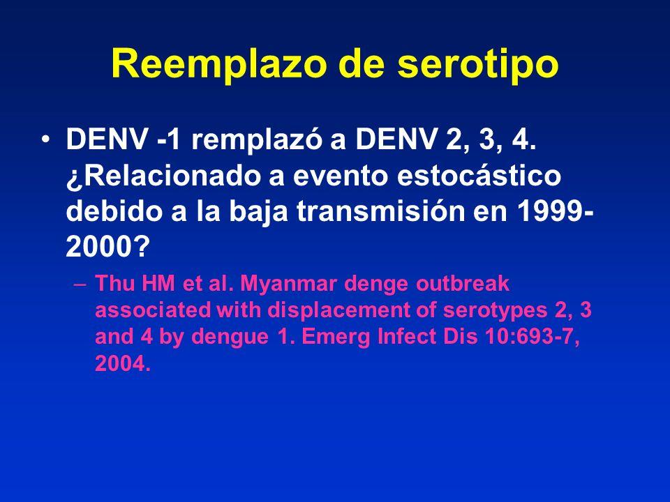 Reemplazo de serotipo DENV -1 remplazó a DENV 2, 3, 4. ¿Relacionado a evento estocástico debido a la baja transmisión en 1999-2000