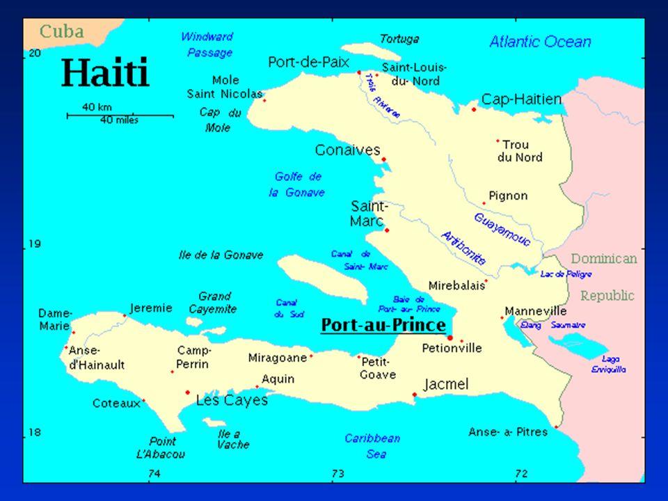 Haití, se muestra la localización de Puerto Príncipe, ciudad capital y sitio donde las tropas de Naciones Unidas aterrizaron en 1994.