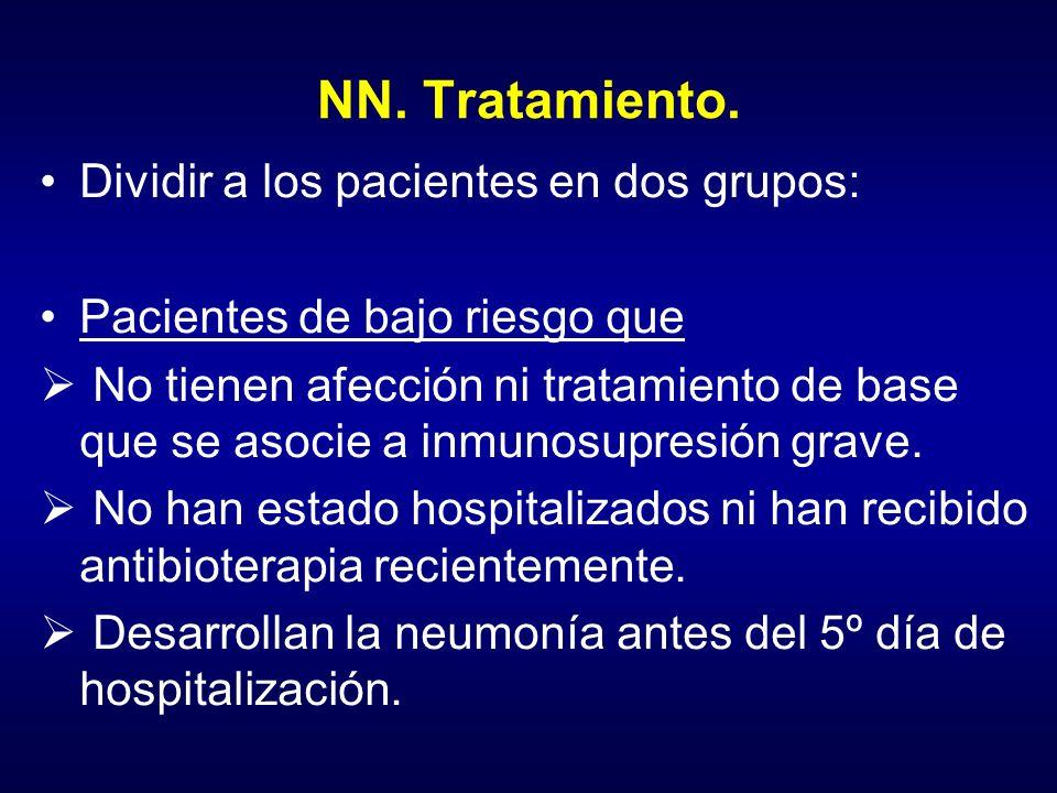 NN. Tratamiento. Dividir a los pacientes en dos grupos: