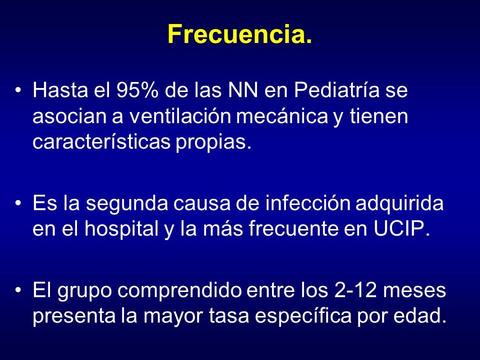 Frecuencia. Hasta el 95% de las NN en Pediatría se asocian a ventilación mecánica y tienen características propias.
