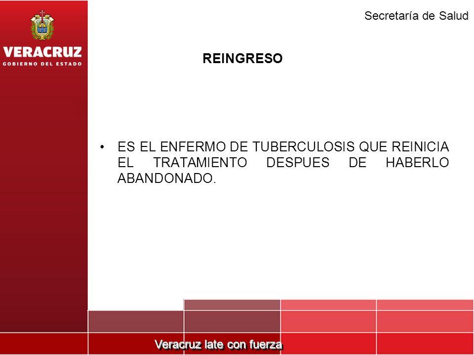 REINGRESO ES EL ENFERMO DE TUBERCULOSIS QUE REINICIA EL TRATAMIENTO DESPUES DE HABERLO ABANDONADO.