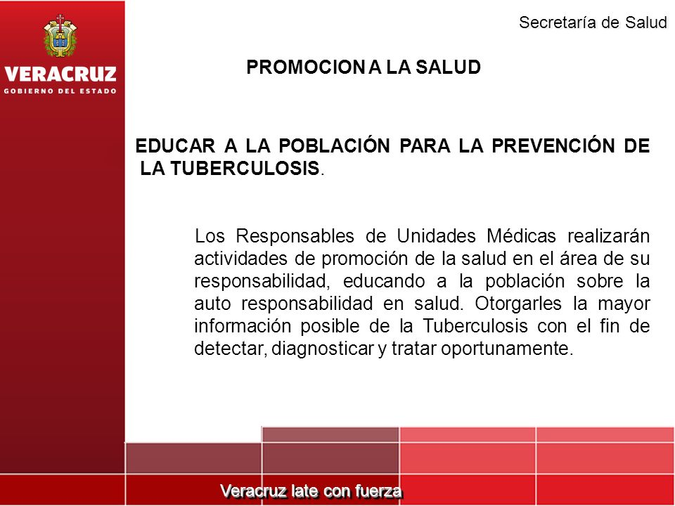 PROMOCION A LA SALUDEDUCAR A LA POBLACIÓN PARA LA PREVENCIÓN DE LA TUBERCULOSIS.