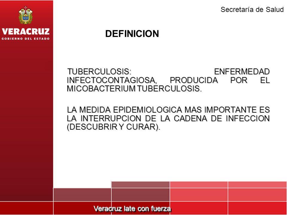 DEFINICIONTUBERCULOSIS: ENFERMEDAD INFECTOCONTAGIOSA, PRODUCIDA POR EL MICOBACTERIUM TUBERCULOSIS.