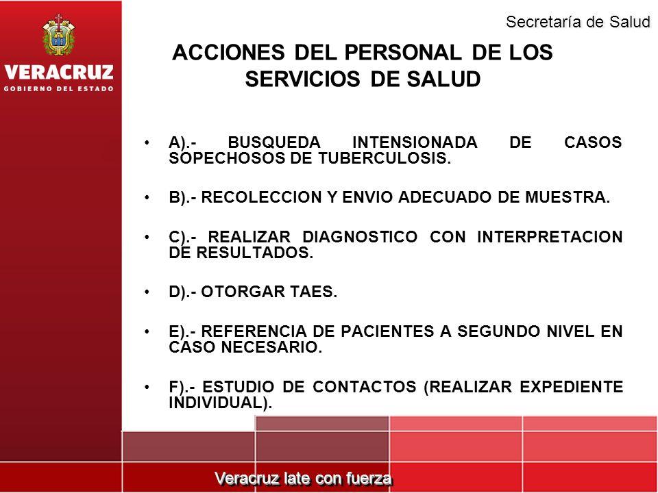 ACCIONES DEL PERSONAL DE LOS SERVICIOS DE SALUD