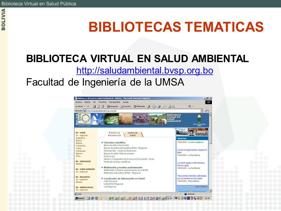 BIBLIOTECAS TEMATICAS